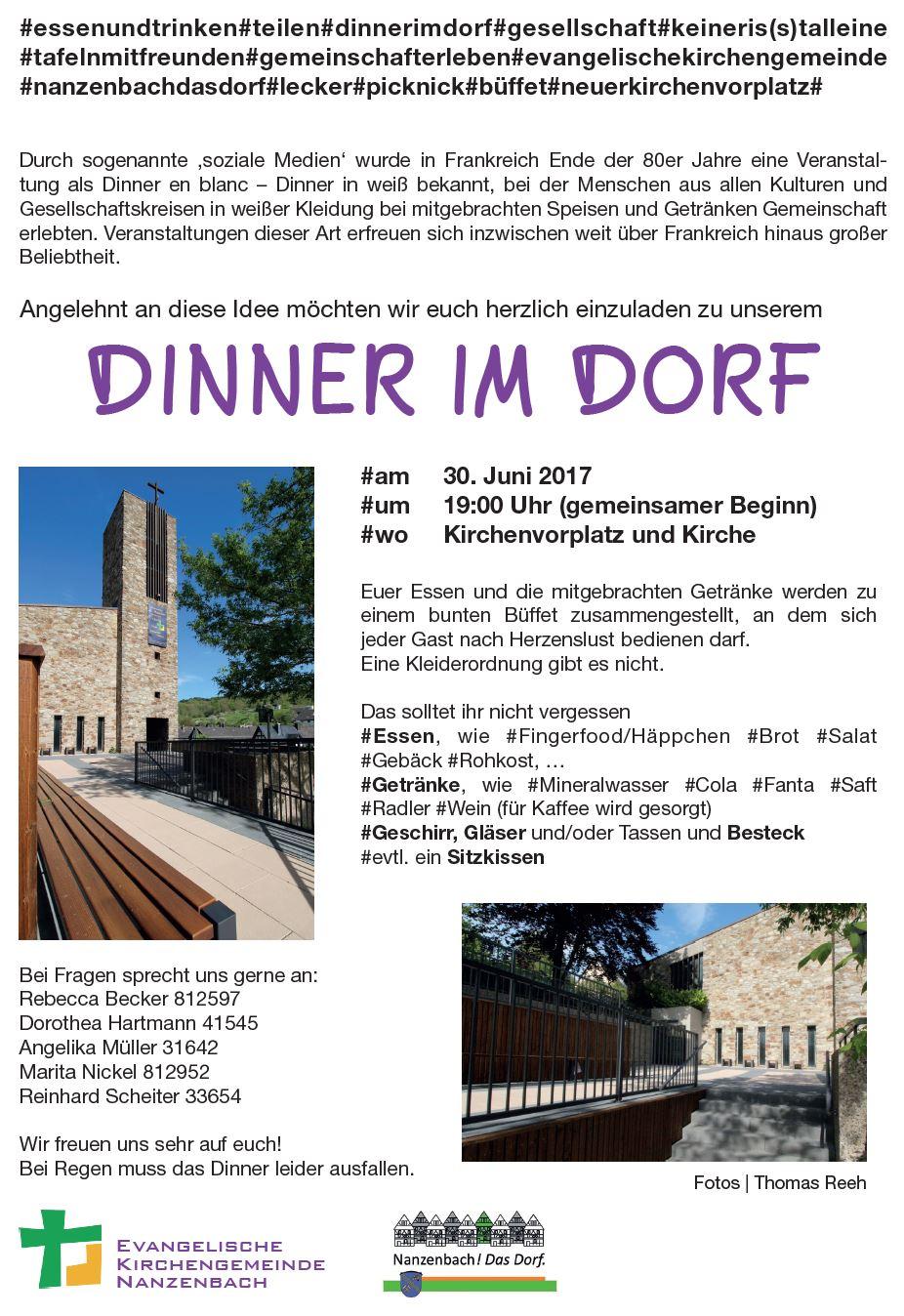 Nanzenbach.eu - Einladung zu Dinner im Dorf am 30.06.2017